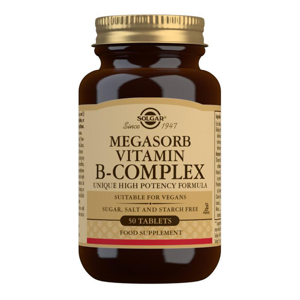 Solgar Megasorb Vitamin B-Complex High Potency Tablets - Pack of 50