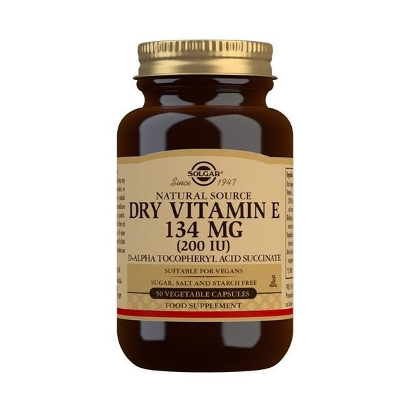 Solgar Natural Source Dry Vitamin E 134 mg (200 IU) Vegetable Capsules - Pack of 50