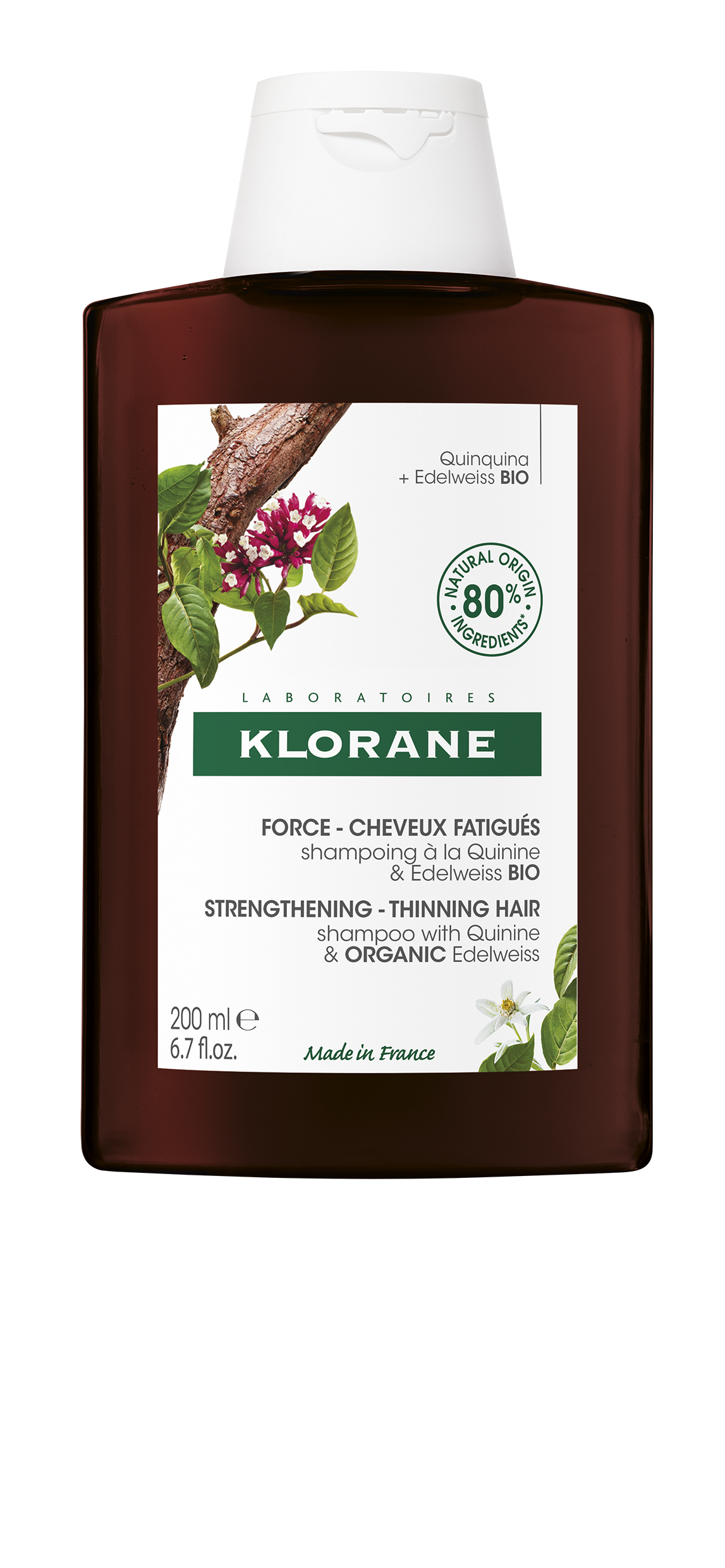 Klorane Strength Tired Hair & Fall Shampoo with Quinine and Edelweiss Organic 200ml