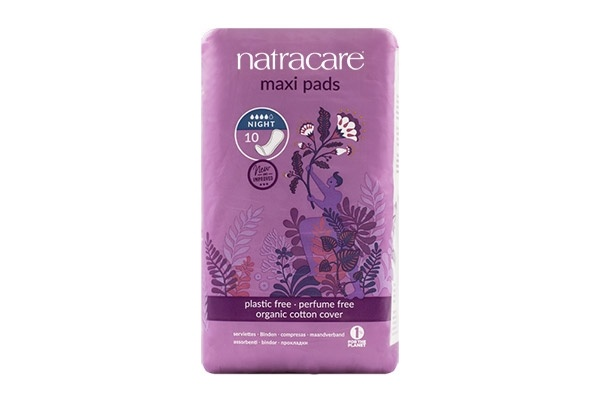 Natracare Night Time Natural Maxi Pads 10's