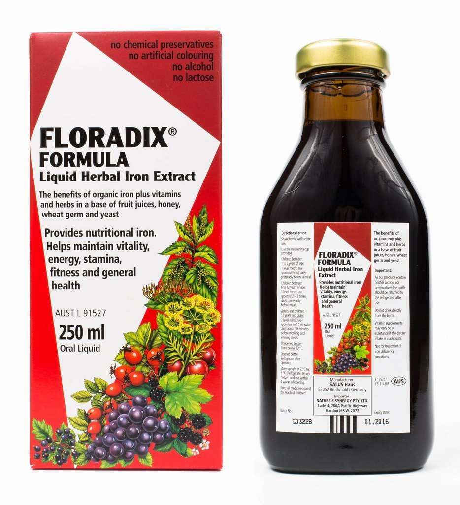 Floradix Liquid Iron,Vitamin and Herbal Formula 250ml