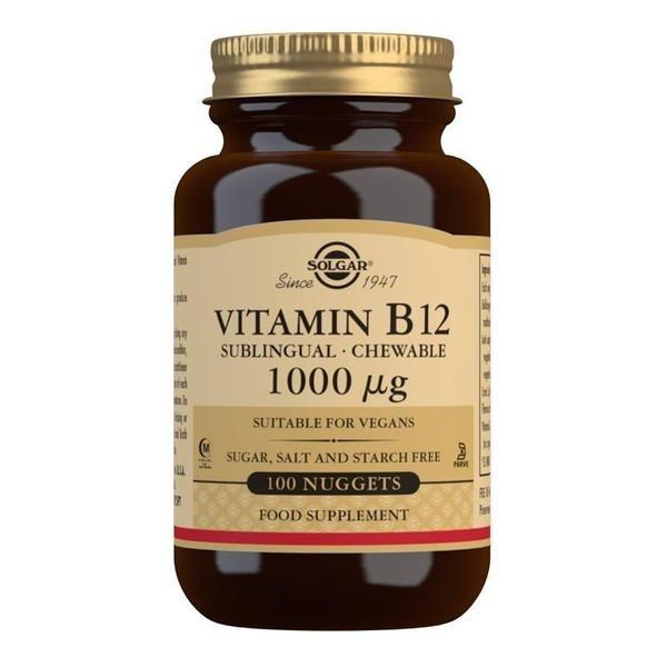 Solgar Vitamin B12 1000 mcg Sublingual - Chewable Nuggets - Pack of 100