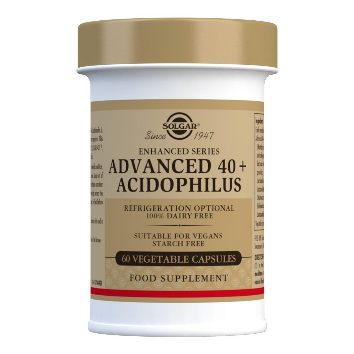 Solgar Advanced 40+ Acidophilus Vegetable Capsules - Pack of 60