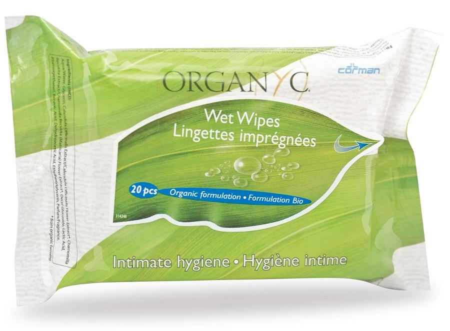 Organyc Intimate Wet Wipes - 20 wipes per pack