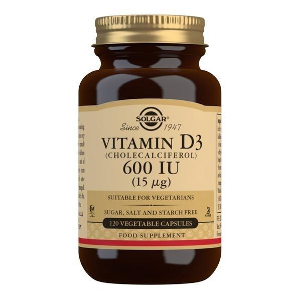 Solgar Vitamin D3 (Cholecalciferol) 600 IU Vegetable Capsules - Pack of 120