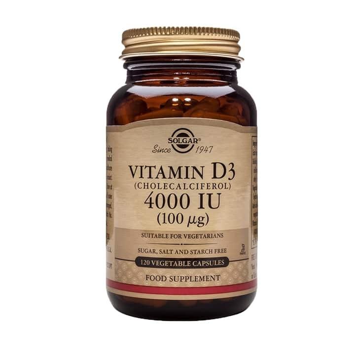 Solgar Vitamin D3 (Cholecalciferol) 4000 IU (100 mcg) Vegetable Capsules - Pack of 120