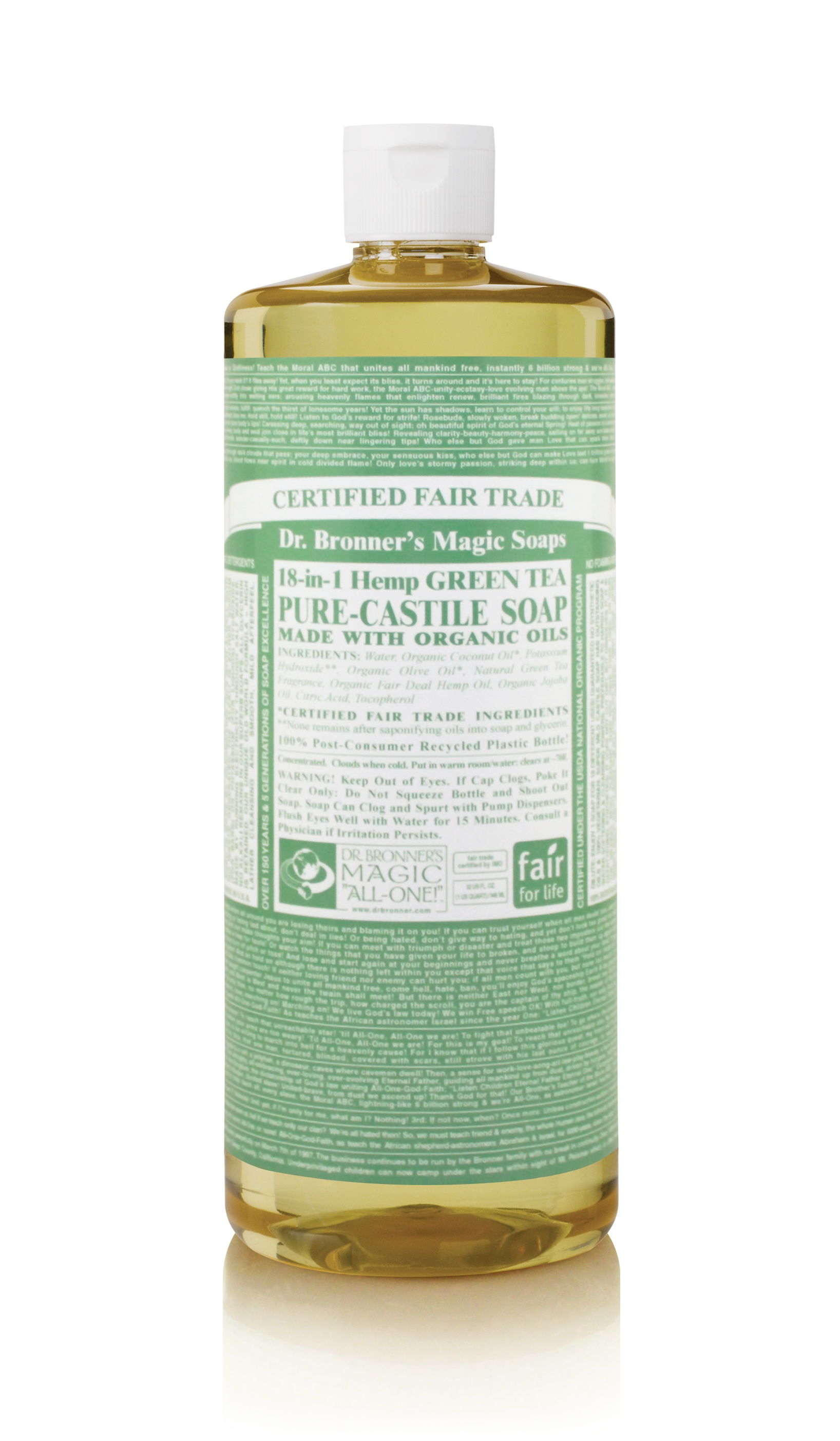 Dr.Bronner's Castille Green Tea Liquid Soap 1 litre