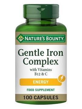 Nature's Bounty Gentle Iron Complex with Vitamins B12 & C 100 Capsules