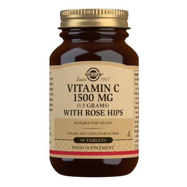 Solgar Vitamin C 1500 mg (1.5 grams) with Rose Hips Tablets - Pack of 90