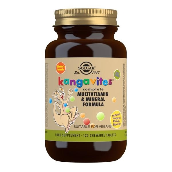 Solgar Kangavites Tropical Punch Complete Multivitamin and Mineral Formula Chewable Tablets - Pack of 120