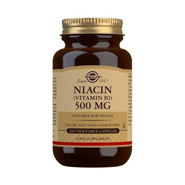 Solgar Niacin (Vitamin B3) 500 mg Vegetable Capsules - Pack of 100