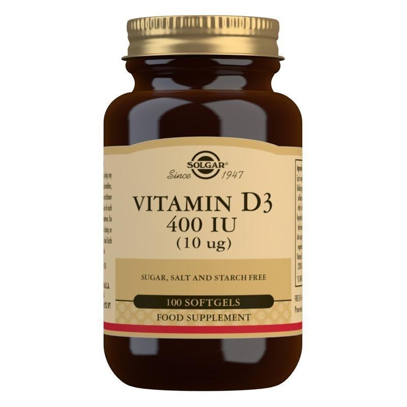 Solgar Vitamin D3 400 IU (10 mcg) Softgels - Pack of 100