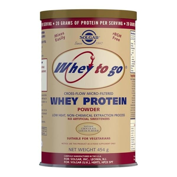 Solgar Whey To Go Natural Chocolate Flavour Protein Powder 454 g