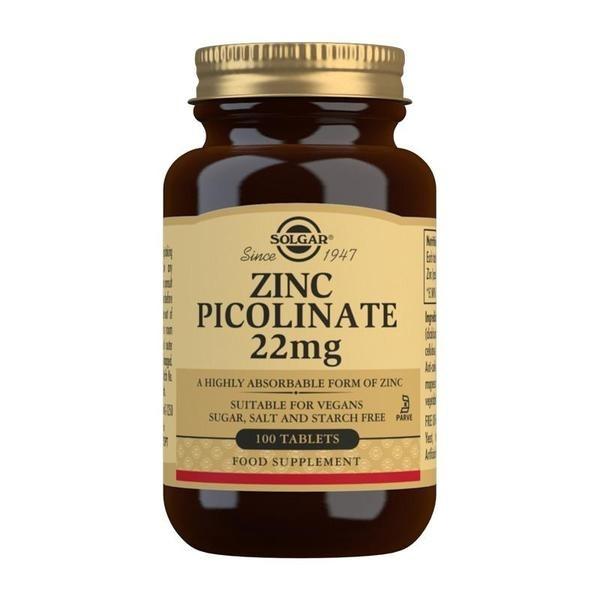Solgar Zinc Picolinate 22 mg Tablets - Pack of 100