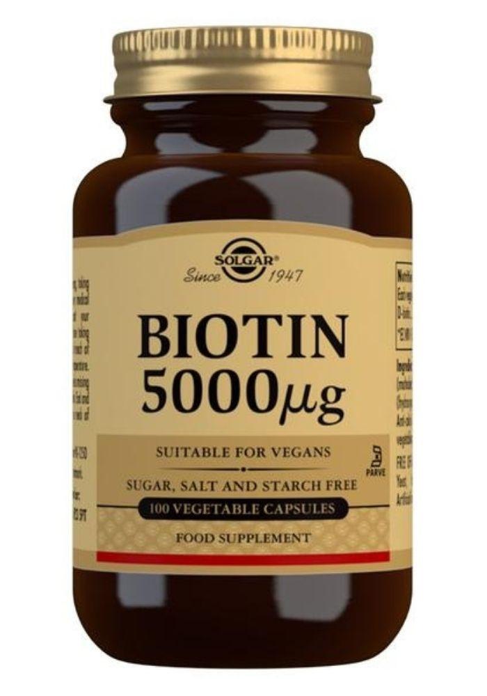 Solgar Biotin 5000 mcg Vegetable Capsules - Pack of 100