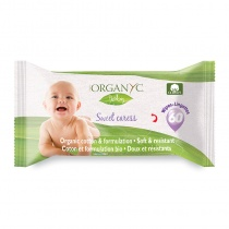 Organyc Sweet Caress Organic Cotton Baby Wipes - 60 wipes per pack
