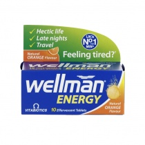 Vitabiotics Wellman Energy 10 Orange Flavour Effervescent Tablets