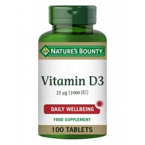 Nature's Bounty Vitamine D3 25 μg (1000 IU) 100 Tablets