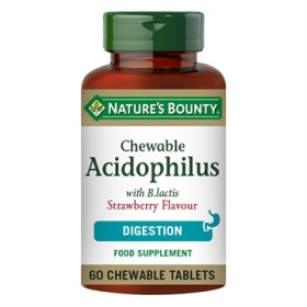 Nature's Bounty Chewable Acidophilus Strawberry Flavour with B.lactis 60 Chewable Tablets