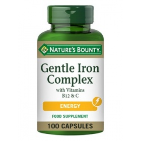 Nature's Bounty Gentle Iron Complex with Vitamins B12 & C 100 Capsules
