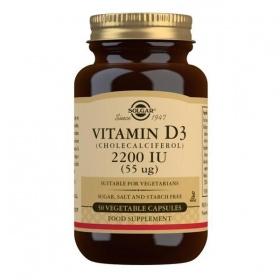 Solgar Vitamin D3 (Cholecalciferol) 2200 IU (55 mcg) Vegetable Capsules - Pack of 50