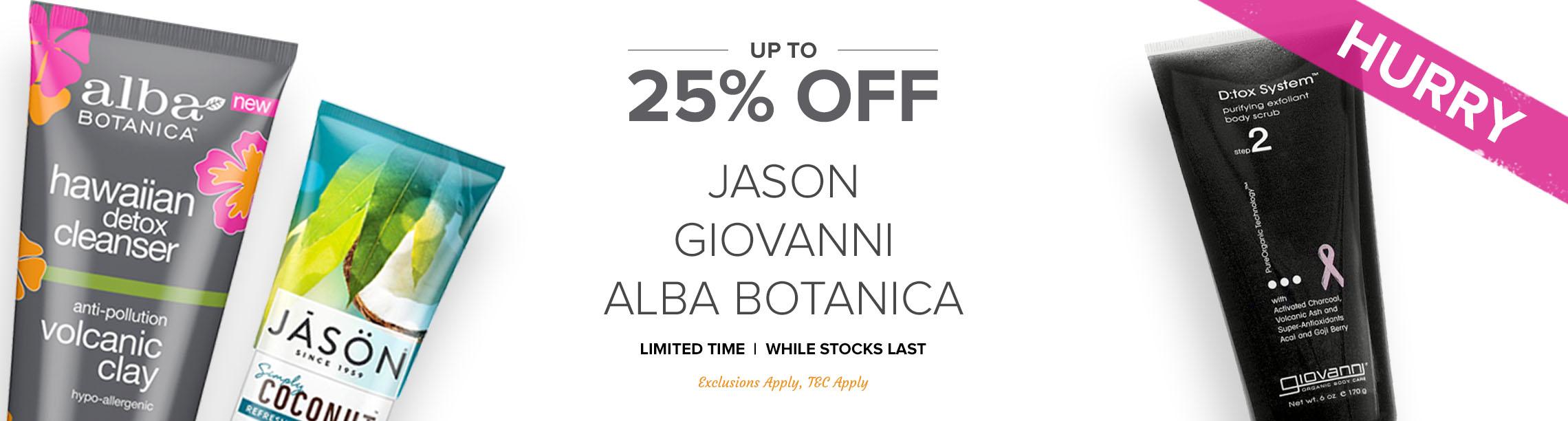 Up To 25% Off Jason, Giovanni and Alba Botanica